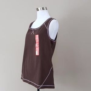 Danskin Tank Top XL Brown Pink Trim New With Tags